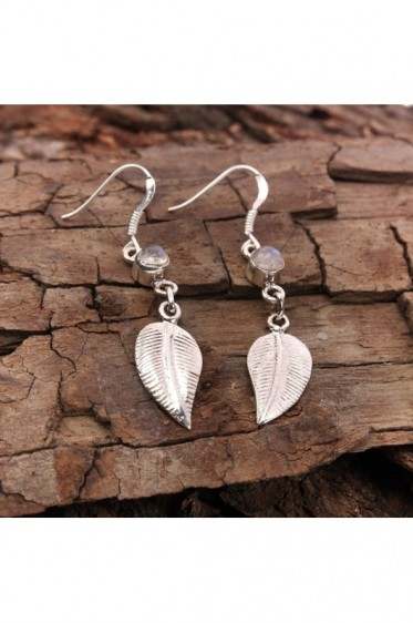 Silver Leaf Earrings with Moonstone